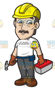 A Male Construction Worker Holding A Hammer And A Toolbox