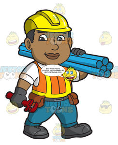 A Male Construction Carrying Pipes And A Wrench