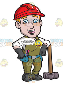 A Male Construction Worker With A Sledgehammer