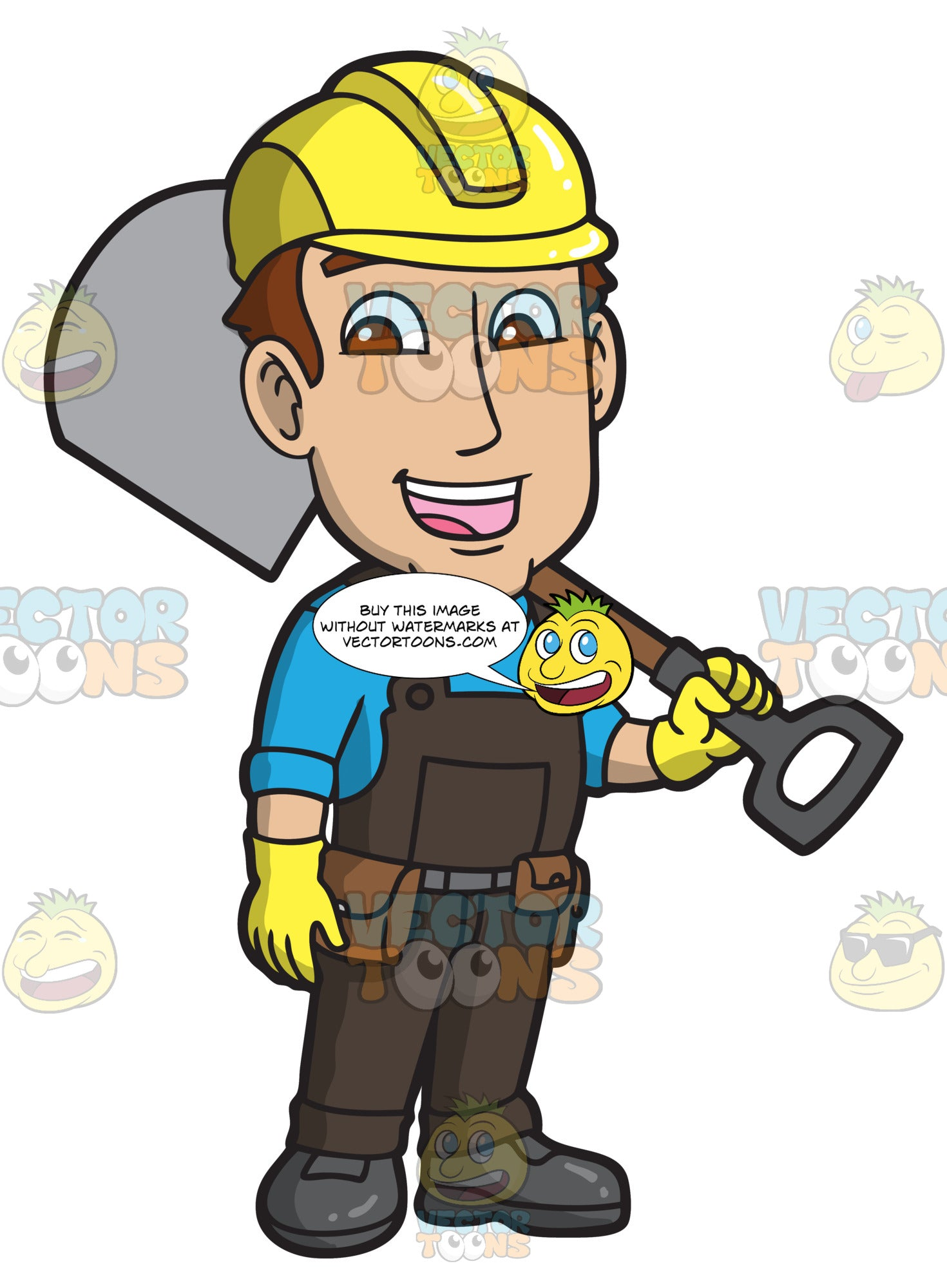 A Male Construction Worker With A Shovel
