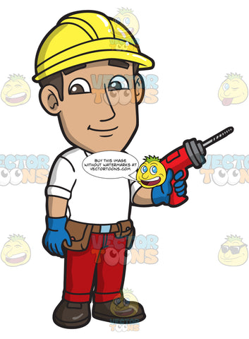 A Male Construction Worker With A Drill