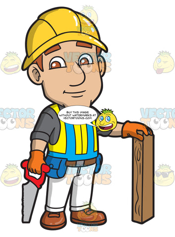 A Male Construction Worker About To Saw Wood