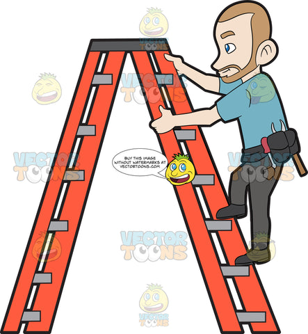 A Construction Worker Climbing Up The Ladder