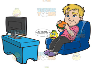 A Man Munching On A Burger While Watching Tv