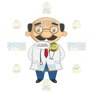 Funny Looking Bald Male Doctor With Glasses On