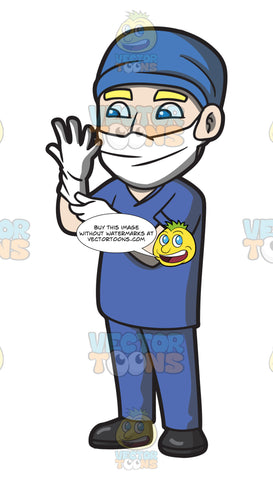 A Surgeon Wearing Gloves Before An Operation