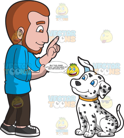 A Man Training A Dalmatian Dog