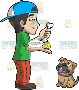 A Man Training A Pug Dog