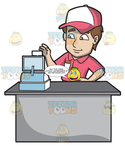 A Fast Food Employee Using The Cash Register