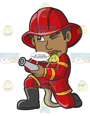 A Black Firefighter Aiming The Hose Towards A Fire