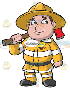 A Chubby Firefighter With An Ax