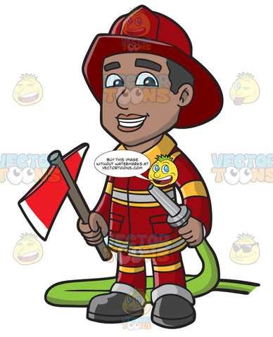 A Smiling Firefighter Holding A Fire Hose And An Ax