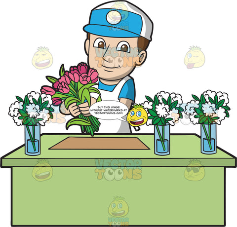 A Male Florist At Work