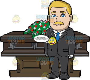 A Silent Male Funeral Director. A man with blonde hair, mustache, wearing a black dress jacket, pants, shoes, white dress shirt, gloves, blue necktie, stands in front of a dark brown coffin with dark gray trimmings and a casket spray of red and white flowers on top