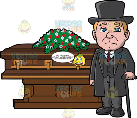A Veteran Male Funeral Director. A man with blonde hair, wearing a black top hat, trench coat, vest, shoes, white dress shirt, dark red necktie, gray pants, frowns while standing in front of a brown coffin with gold trimmings, and a casket spray of red and white flowers on top, as he holds a black cane in his left hand