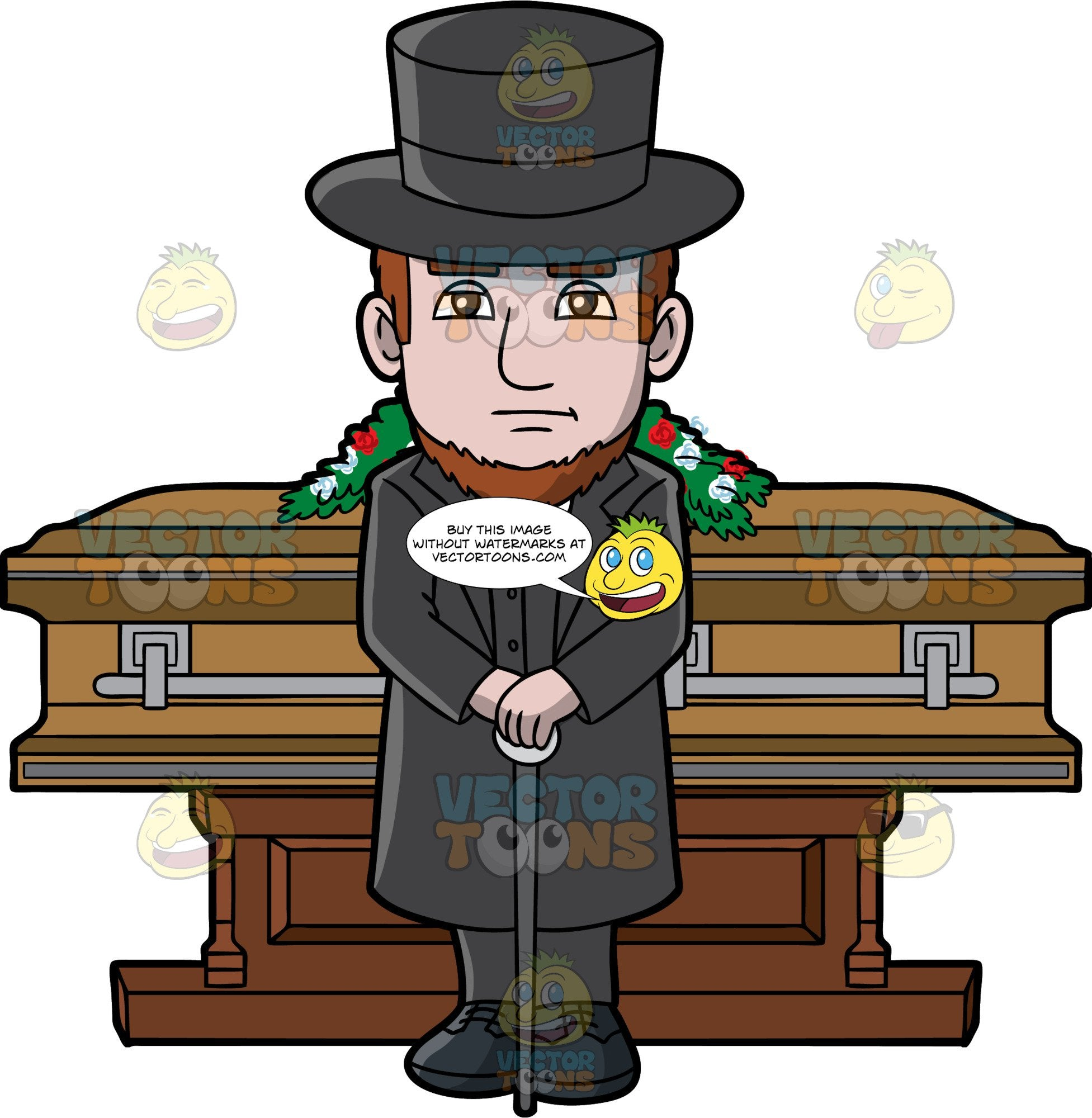 A Sad Male Funeral Director. A man with brown hair and beard, wearing a black top hat, trench coat, vest, pants, shoes, gray necktie, white dress shirt, frowns while resting his hands on top of a gray cane, as he stands in front of an oak brown coffin with gray trimmings with a casket spray of red and white flowers on top, and reddish brown stand