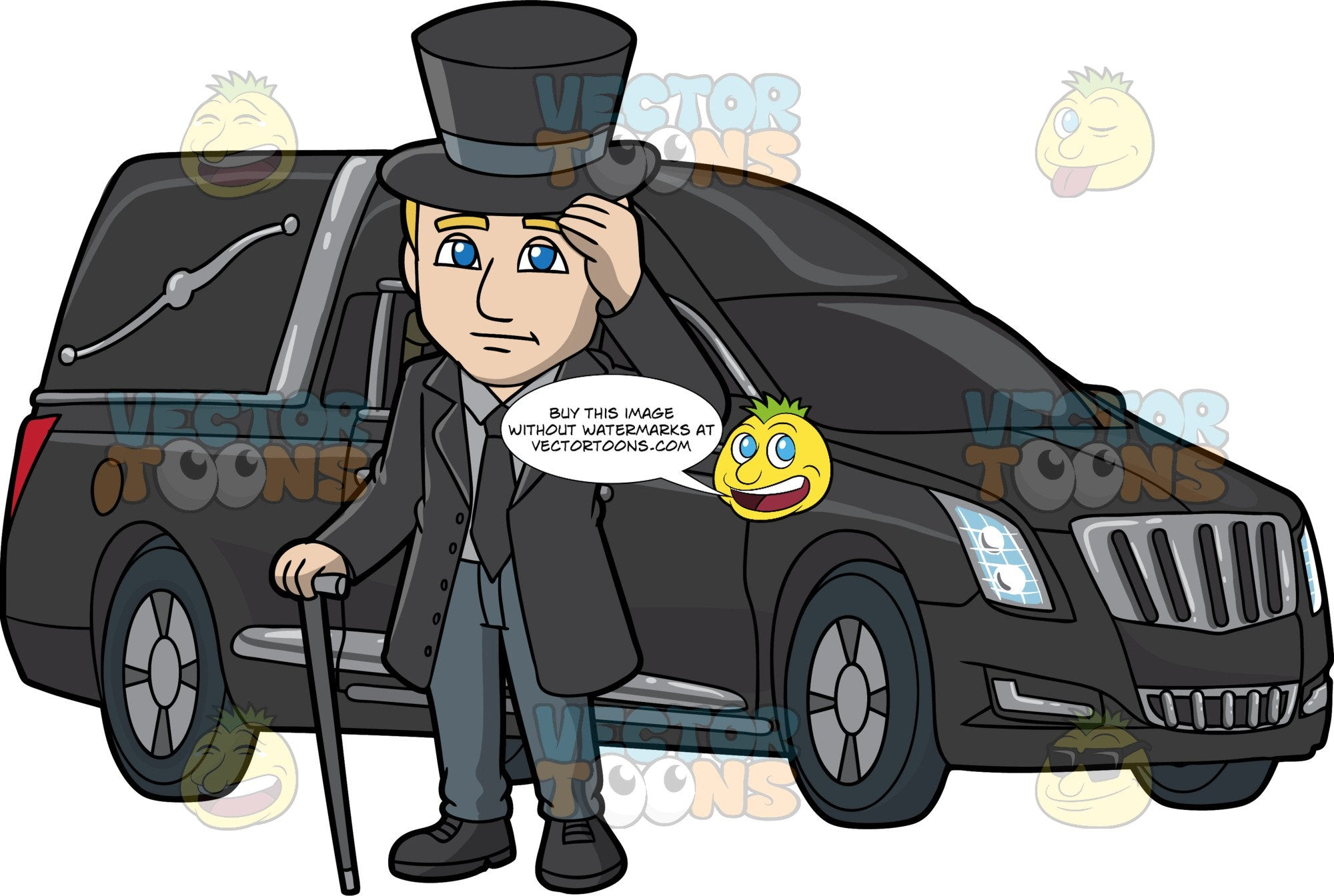 A Sympathetic Male Funeral Director Beside A Hearse. A man with blonde hair, wearing a black trench coat, necktie, gray dress shirt, black shoes, bluish gray pants, tips the end of his black top hat while holding a black cane in his right hand, as he stands at the side of a black hearse