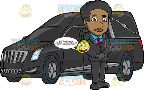 A Black Male Funeral Director Beside A Hearse. A black man with curly hair, wearing a black suit, blue dress shirt, dark purple necktie, black shoes, gloves, stands at the side of a black hearse