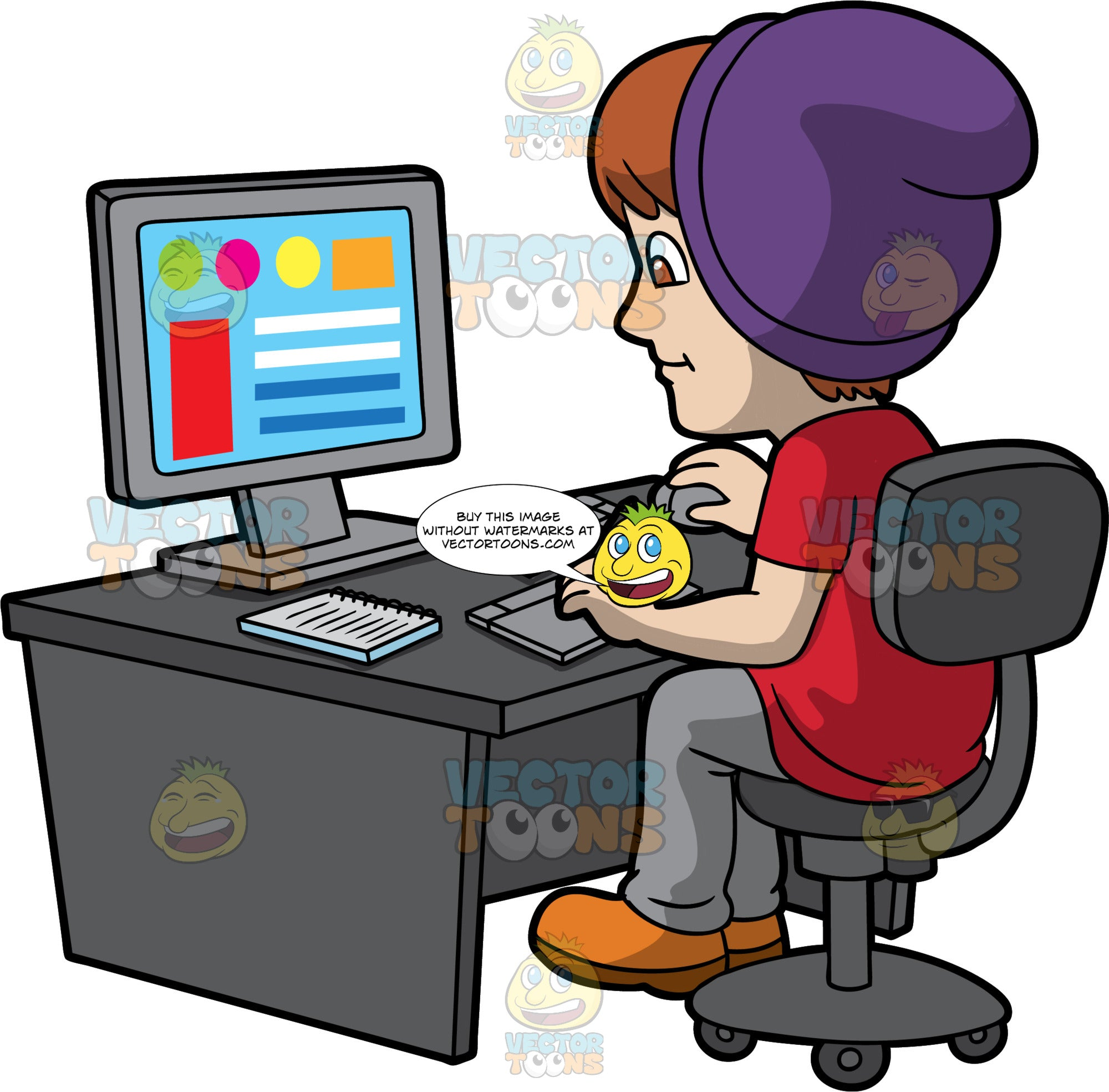 A Hipster Male Graphic Designer. A man with brown hair, wearing a red shirt, gray pants, orange boots, purple beanie, smiles while sitting on a dark gray chair behind a desk with a desktop monitor, a keyboard, notebook, and drawing pad with pen, as he designs some graphics