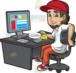 A Cool Male Graphic Designer. A man with dark brown hair and goatee, wearing a red cap, white shirt, orange pants, red with white sneakers, smiles while sitting on a dark gray chair behind a desk with a desktop monitor, a keyboard, notebook, and drawing pad with pen, as he designs some graphics