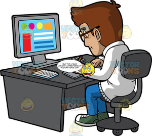 A Focused Male Graphic Designer. A man with brown hair, wearing a white jacket, blue pants, green with white sneakers, black eyeglasses, sitting on a dark gray chair behind a desk with a desktop monitor, a keyboard, notebook, and drawing pad with pen, as he designs some graphics