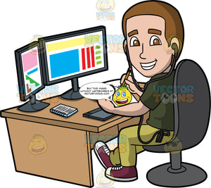 A Male Graphic Designer Drawing A Concept. A man with brown hair, wearing black earphones, a dark army green shirt, light green pants, reddish brown with white sneakers, smiles while sitting on a dark gray chair behind a brown desk with two desktop monitors, a keyboard, notebook, and drawing pad with pen, as he designs some graphics draft on a white notepad using a pencil