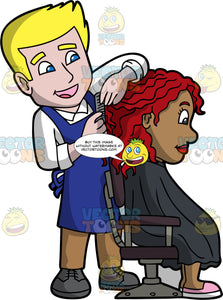 A Happy Male Hairdresser. A male hairdresser with blonde hair wearing a white dress shirt, blue apron, brown pants, black shoes, smiles while styling the red hair of a black woman sitting on a black and gray salon chair, wearing a black salon cape gown, pink with white shoes, using a gray comb