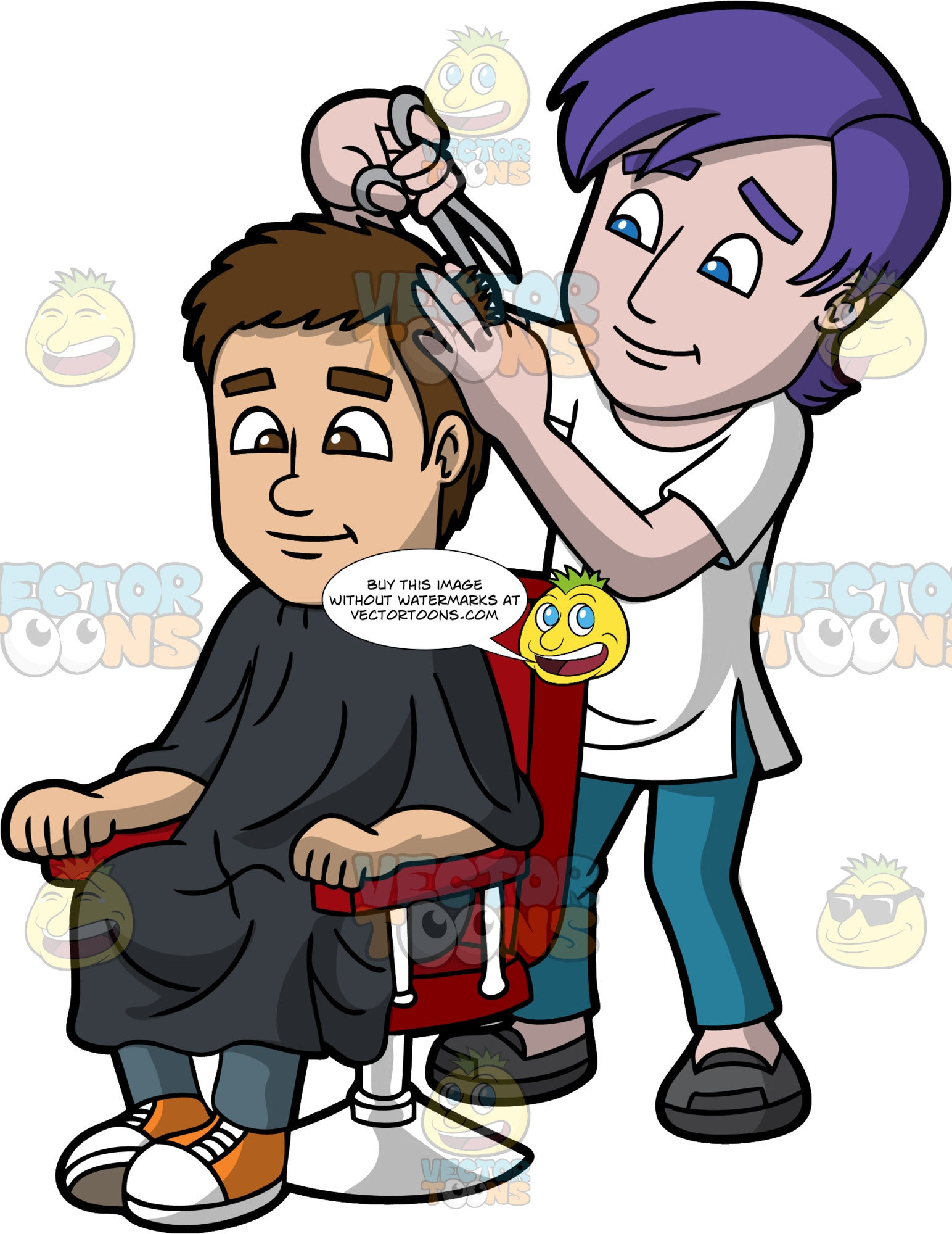 A Male Hairdresser Cutting The Hair Of A Guy. A male hairdresser with purple hair, wearing a white shirt, teal pants, black shoes, cutting the brown hair of a man who is sitting on a red with white salon chair, wearing a black salon cape gown, dark gray pants, orange with white shoes, using a pair of gray scissors