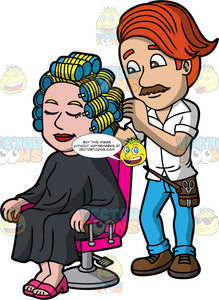 A Male Hairdresser Curling The Hair Of A Client. A male hairdresser with red hair, brown mustache, wearing a white button up shirt with collar, dark brown utility belt, light blue jeans, brown shoes, styles the blonde hair of a woman sitting on a pink and gray salon chair, wearing a black salon gown cape and pink sandals, using a batch of blue rollers