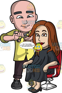 A Bald Male Hairdresser. A bald male hairdresser wearing a yellow button up shirt, dark violet pants, black shoes, smiles while cutting the dark brown hair of a woman sitting on a red and white salon chair, wearing a black salon gown cape, black heels, using a pair of scissors