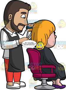 A Male Hairdresser Cutting The Hair Of A Client. A male hairdresser with dark brown hair, mustache, beard, white sweatshirt with collar, black apron, red pants, white shoes, smiles while cutting the blonde hair of a woman sitting on a fuchsia with gray salon chair, wearing a black salon gown cape, dark purple heels, using a dark blue comb and scissors