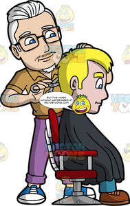 A Male Hipster Hairdresser. A male hairdresser with white hair, faint mustache, goatee, wearing a pair of eyeglasses, light brown polo shirt, brown belt, purple pants, blue with white sneakers, cuts the blonde hair of a man sitting on a red with gray salon chair, wearing a black salon gown cape, teal pants, brown shoes, using a pair of scissors