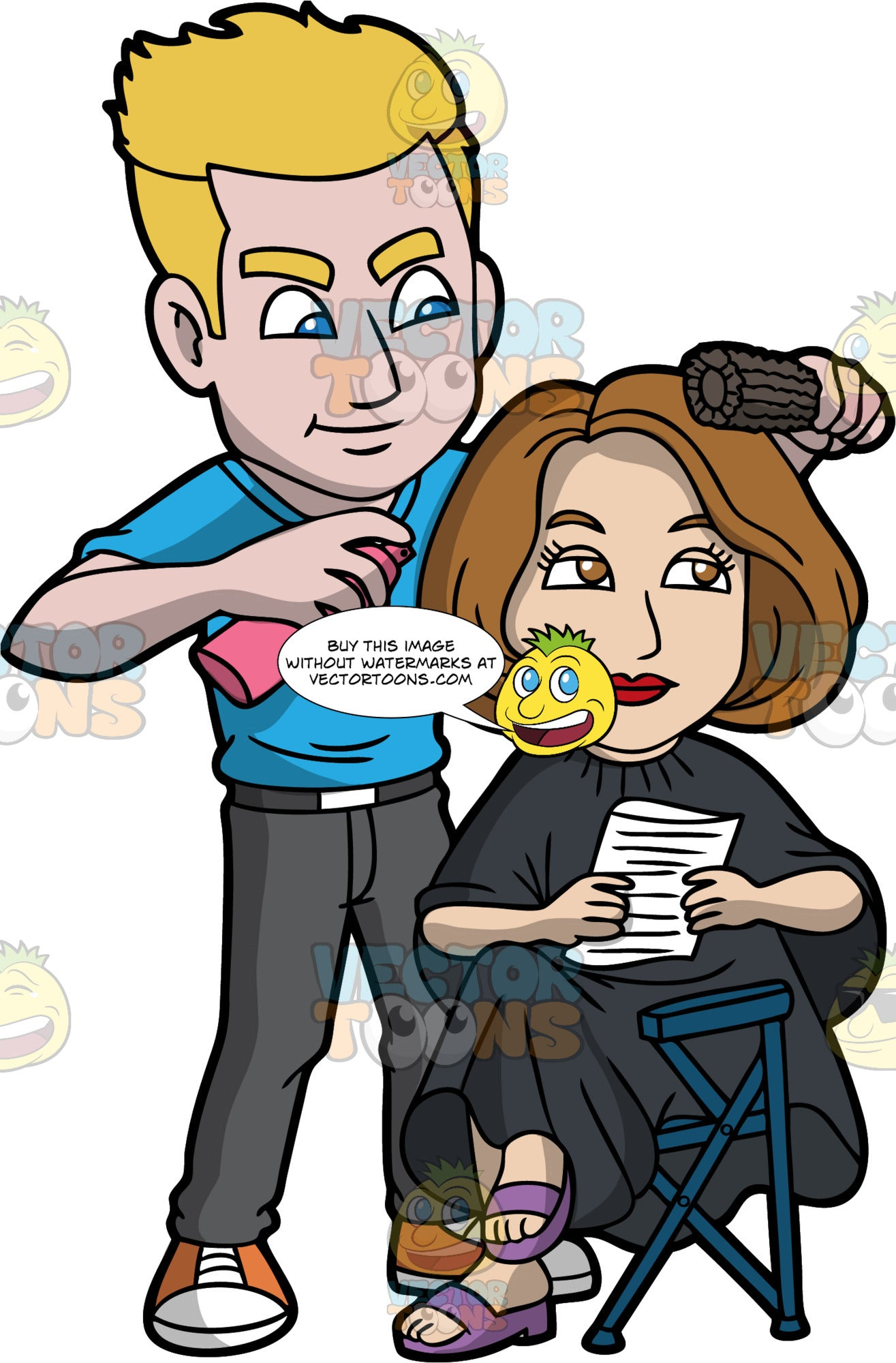 A Male Hairdresser Styling A Clients Hair. A male hairdresser with blonde hair, wearing a blue shirt, gray pants, orange with white sneakers, smirks while styling the brown hair of a female actress sitting on a dark blue folding chair, wearing a black salon gown cape, purple sandals who is smiling while holding a script, using a black round brush and a pink can of hair spray