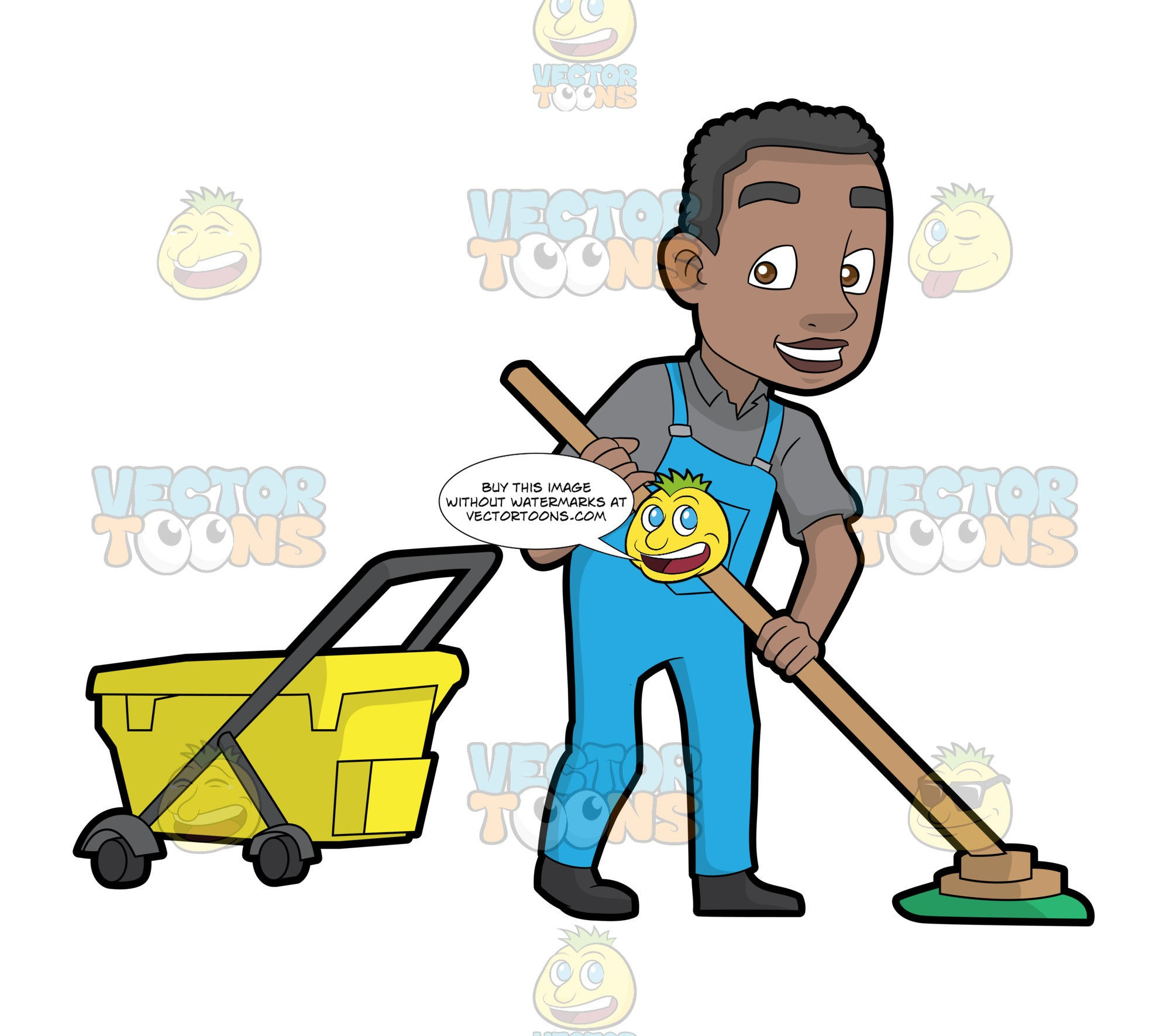 A Happy Black Janitor Mopping The Floor