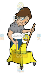 A Janitor Wringing A Mop