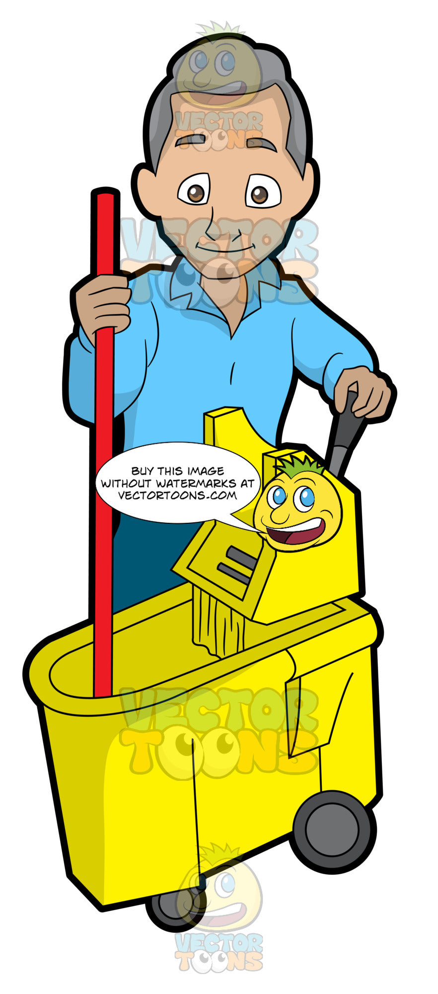A Senior Janitor Wringing A Mop