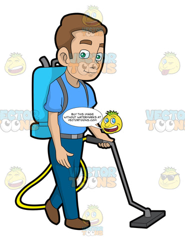 A Janitor Vacuuming The Floor