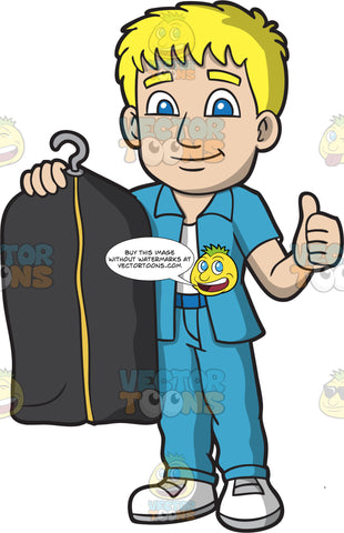 Male Laundry Worker Holding A Dry Cleaned Suit On A Hanger