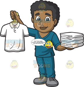 Male Laundry Worker Holding A Clean Shirt In One Hand And Carrying A Stack Of Folded Towels In The Other