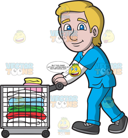 Male Laundry Worker Pushing A Clothes Cart