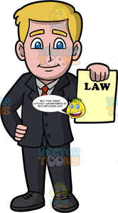 A Male Lawyer Holding A Legal Document. A man with dark blonde hair and blue eyes, wearing a black suit, gray shirt, red tie, and black shoes, standing with one hand on his hip, while the other hand holds onto a piece of paper with the word law on it