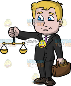 A Male Lawyer Holding A Briefcase And Scales Of Justice. A man with dark blonde hair and blue eyes, wearing a black suit, white shirt, purple tie, and black shoes, holding scales of justice in one hand, and a brown briefcase in the other