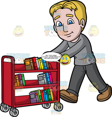 A Male Librarian Pushing A Library Cart. A man with dark blonde hair and blue eyes, wearing dark gray pants, a light gray shirt, and brown shoes, pushing a red library cart filled with books