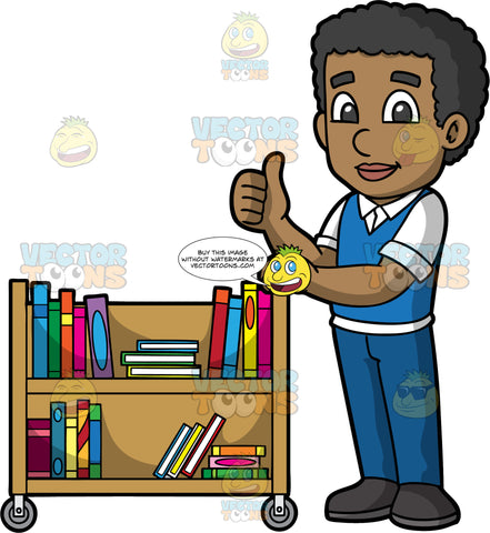 A Black Male Librarian Pushing A Library Cart. A black man wearing blue pants, a blue vest over a white shirt, and black shoes, holding onto a library cart with one hand, while giving the thumbs up with his other hand