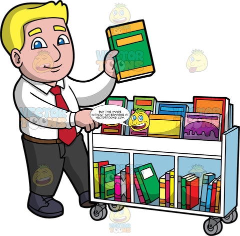 A Male Librarian Putting Books Away. A man with blonde hair and blue eyes, wearing black pants, a white shirt, red tie, and black shoes, pushing a library cart and putting books away on the shelves
