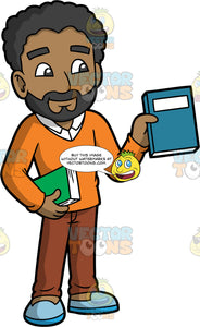 A Male Librarian Showing A Book To Someone. A black man with a beard, wearing brown pants, an orange v-neck sweater over a white shirt, and blue shoes, holding a green book in one hand, while holding a blue book out with the other to show someone
