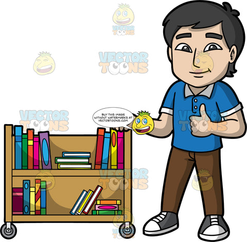 A Male Librarian Giving A Thumbs Up. A man with black hair, wearing brown pants, a blue golf shirt, and gray sneakers, holding onto a library cart filled with books with one hand, while giving the thumbs up with his other hand