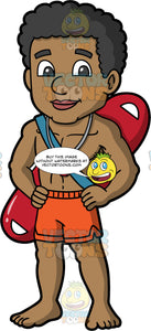 A Male Lifeguard On Duty. A black male lifeguard, wearing red swim trunks, a whistle around his neck, and a patrol rescue can on his back, standing with his hands on his hips as he watches nearby swimmers