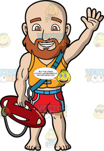 A Friendly Male Lifeguard Waving At Someone. A bald male lifeguard with a brown beard, wearing red and blue swimming trunks, and an orange life vest, holding a red patrol rescue can in one hand, while waving his other hand