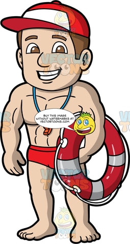 A Male Lifeguard Holding A Life Ring. A male lifeguard with brown hair and eyes, wearing a red bathing suit, a red and white baseball cap, and a whistle around his neck, smiles and holds a life rind under one arm